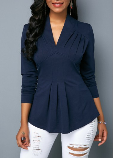 V Neck Long Sleeve Navy Blue Blouse - L