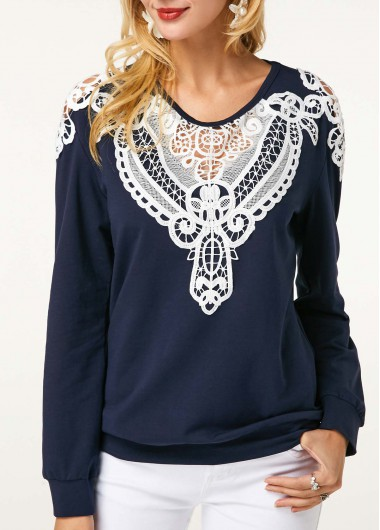 Crochet Panel Long Sleeve Navy Blue Sweatshirt - M