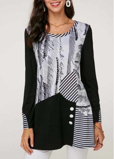 Modlily Women's Striped Black And White Long Sleeve Casual Shirt - L