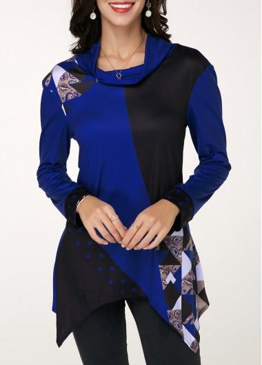 Asymmetric Hem Long Sleeve Cowl Neck T Shirt - XL
