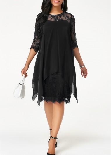 Modlily Black Chiffon Lace Overlay Flowy Shift Chiffon Overlay Three Quarter Sleeve Black Lace Dress - M