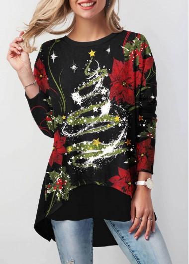 Modlily Women's Long Sleeve Christmas Star Print Black Christmas Shirt - L