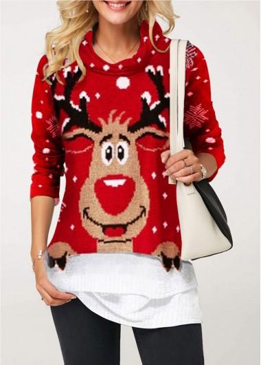 Christmas Shirt Red Elk Print Cowl Neck Long Sleeve Christmas T Shirt for Women - L