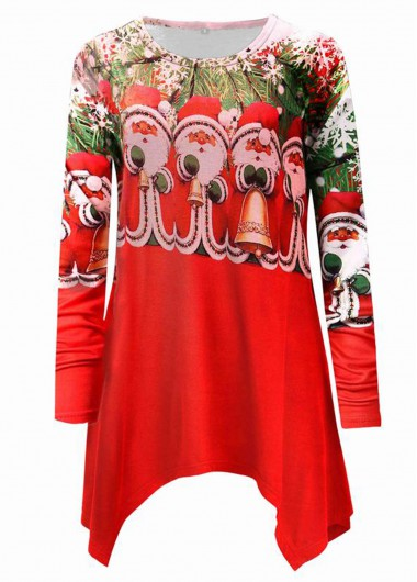 Christmas Shirt Asymmetric Hem Long Sleeve T Shirt for Women - L