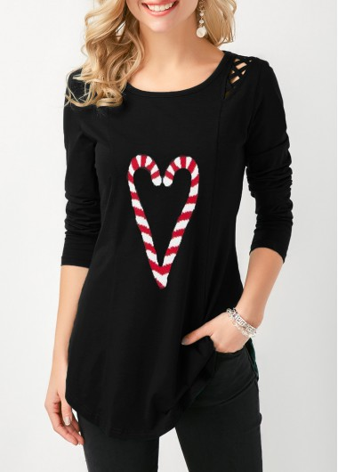 Christmas Shirt Side Slit Long Sleeve Candy Cane Print T Shirt for Women - M