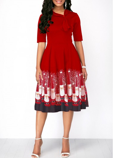 Christmas Santa Print Half Sleeve Red Dress