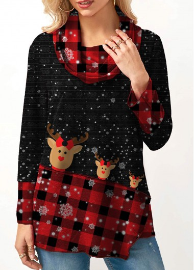 Modlily Women's Cowl Neck Plaid Print Black Long Sleeve Christmas Tunic Top