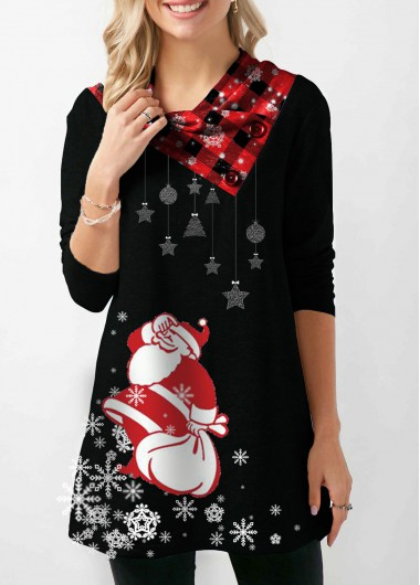 Christmas Sweatshirt Santa Print Long Sleeve Button Embellished Sweatshirt for Women - L