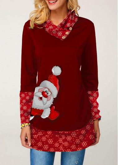 Christmas Shirt Button Embellished Santa Print Long Sleeve T Shirt for Women - S
