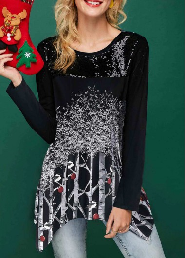 Christmas Shirt Sequin Embellished Asymmetric Hem Tree Print T Shirt for Women - L
