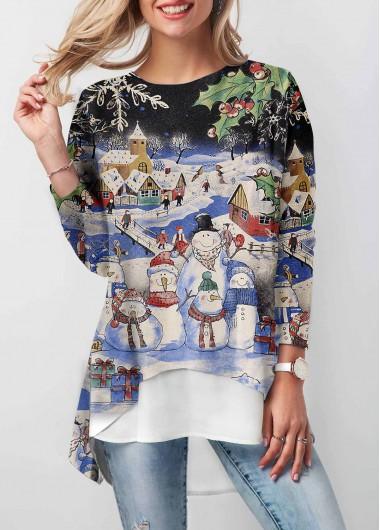 Christmas Shirt Multi Color Dip Hem Long Sleeve T Shirt for Women - L
