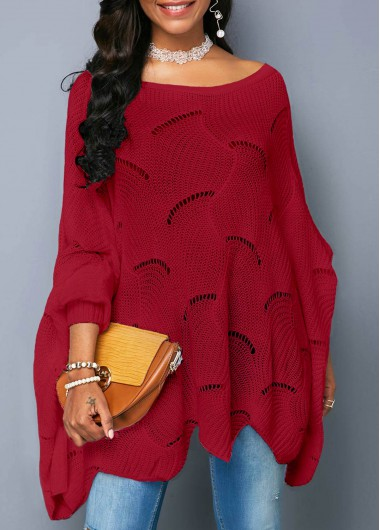 Open Knit Asymmetric Hem Wine Red Sweater - L