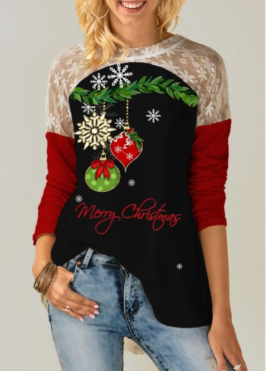 Christmas Shirt Tie Back Lace Panel Long Sleeve T Shirt for Women - L