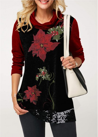Christmas Shirt Sequin Embellished Flower Print Cowl Neck T Shirt for Women - S