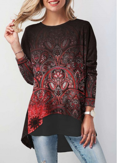Button Back Dip Hem Printed Tunic T Shirt - S