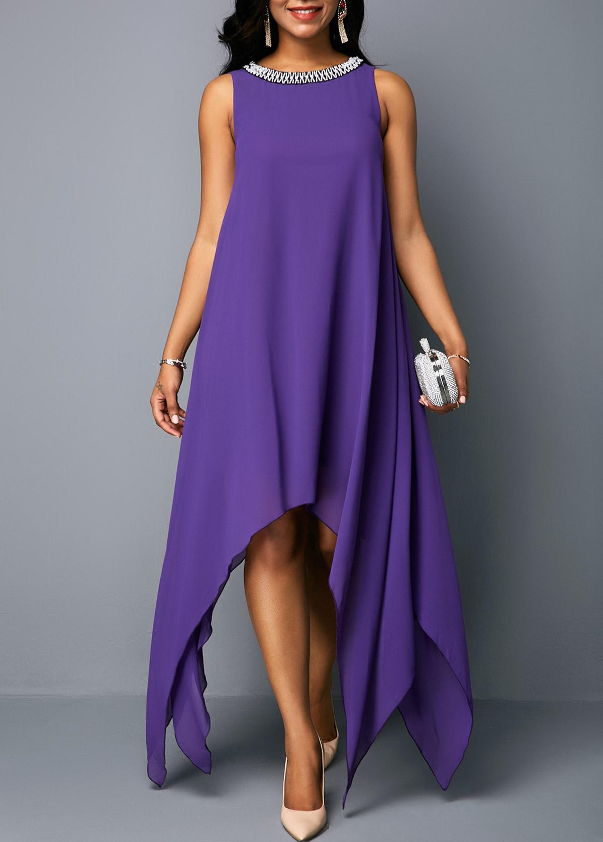 Embellished Neck Asymmetric Hem Chiffon Tunic Dress