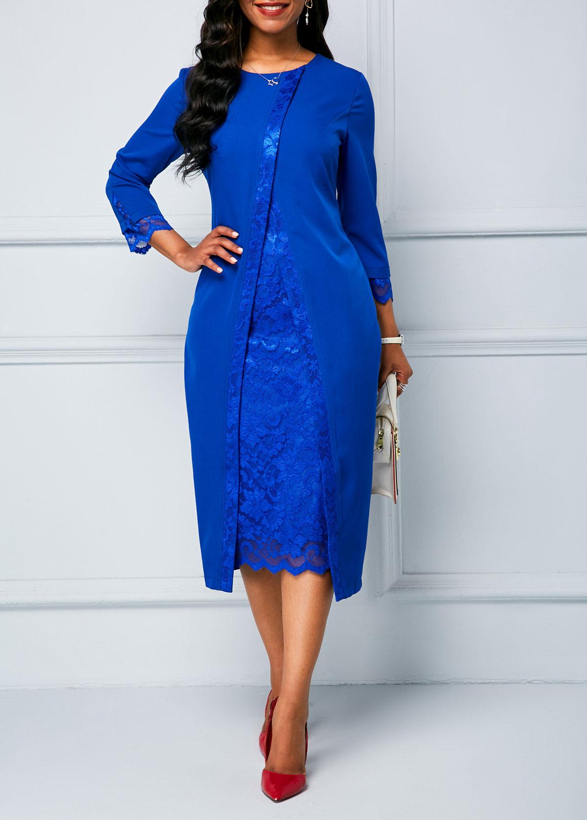 Lace Panel Royal Blue Long Sleeve Sheath Dress