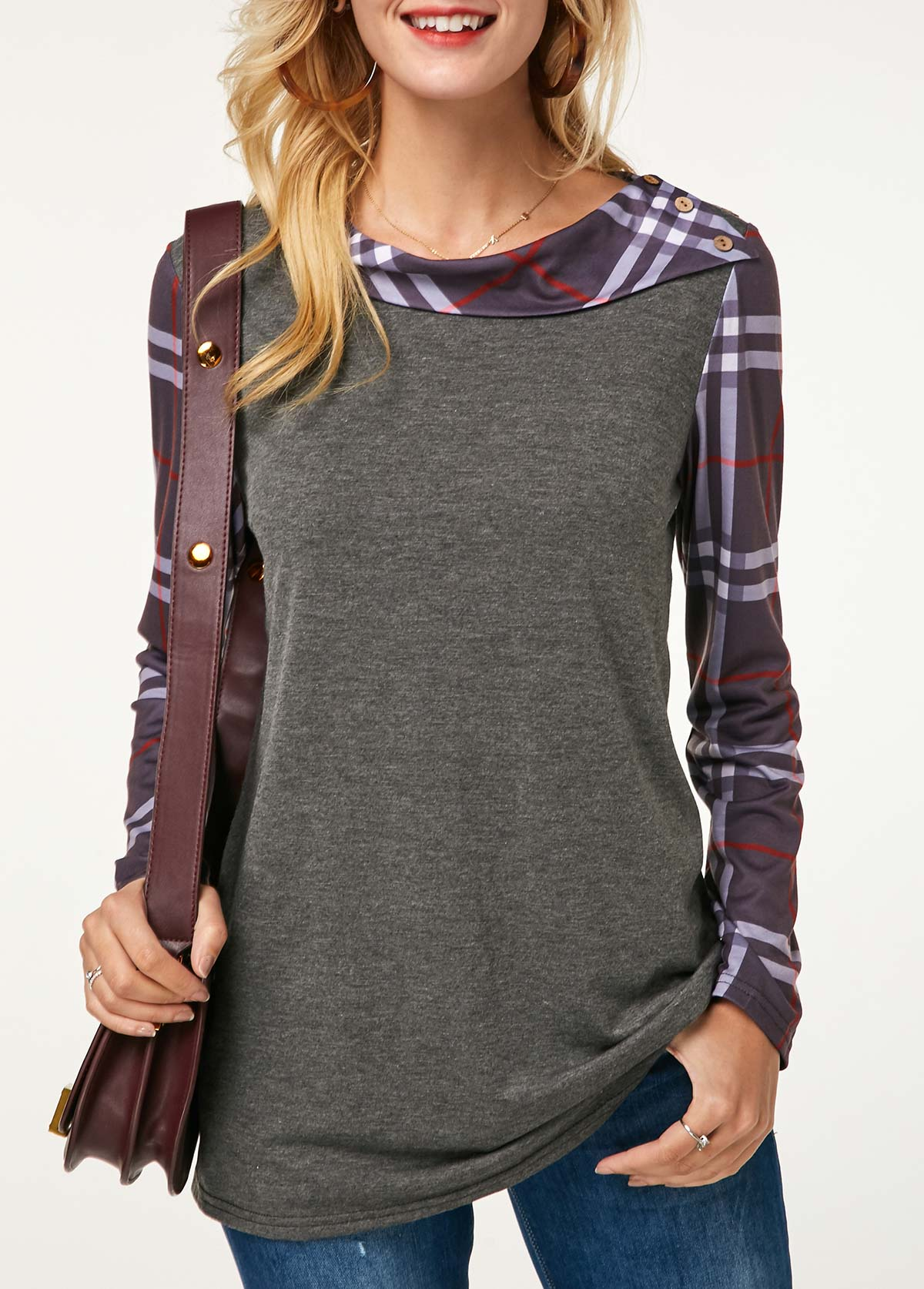 Button Detail Plaid Print Long Sleeve Grey Sweatshirt