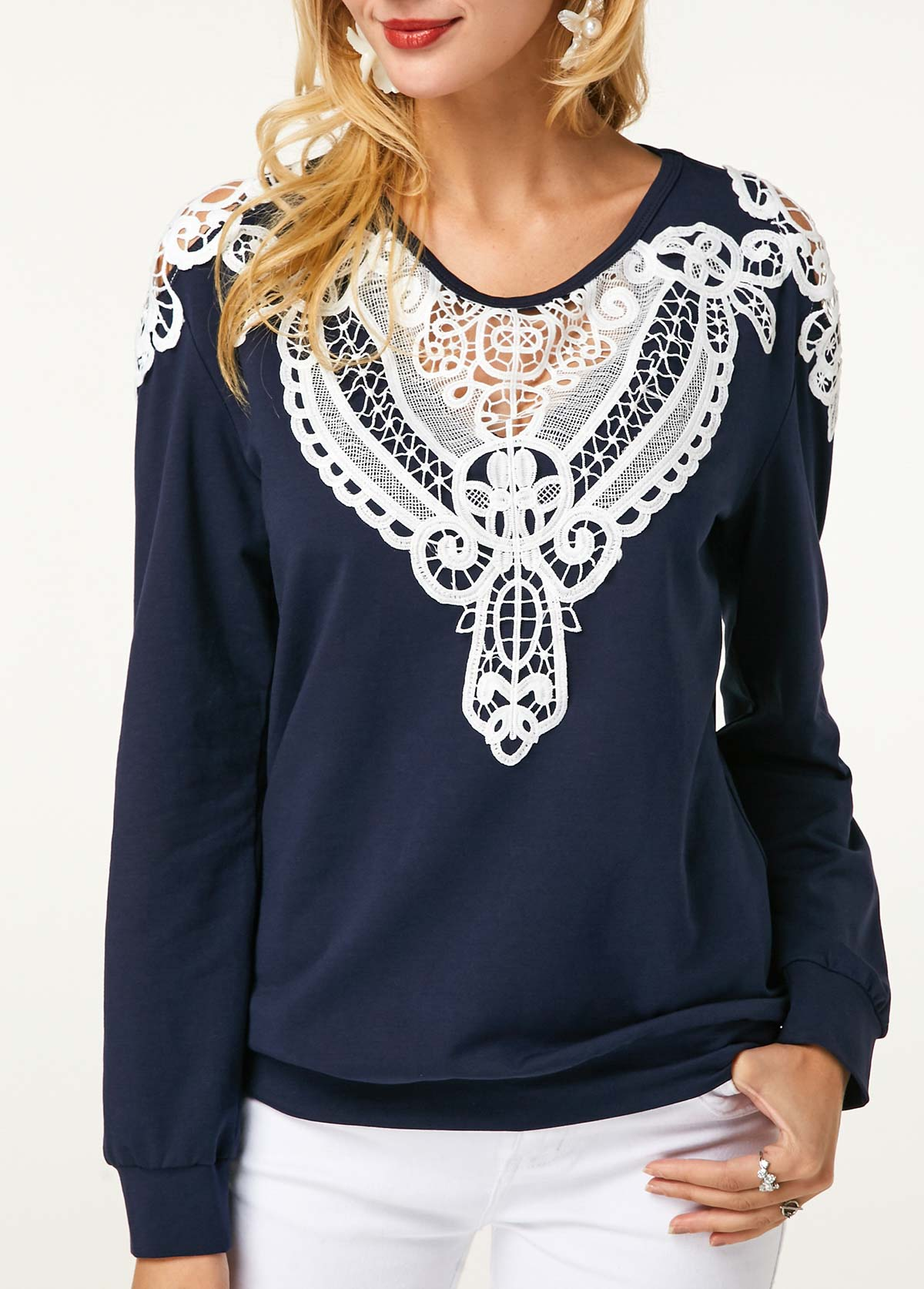 Crochet Panel Long Sleeve Navy Blue Sweatshirt