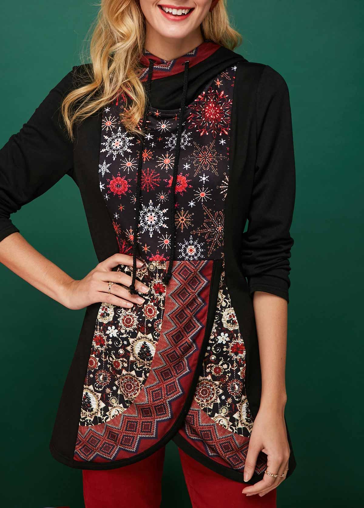 Snowflake Print Tulip Hem Long Sleeve Christmas Hoodie