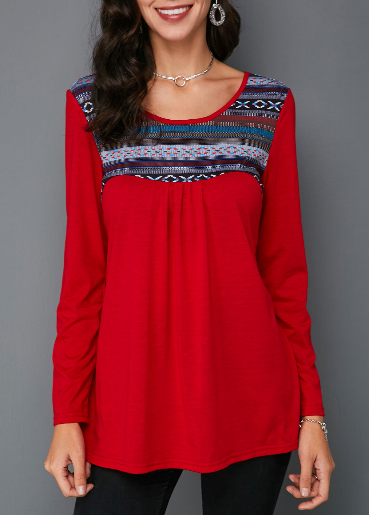 Printed Round Neck Red Long Sleeve T Shirt