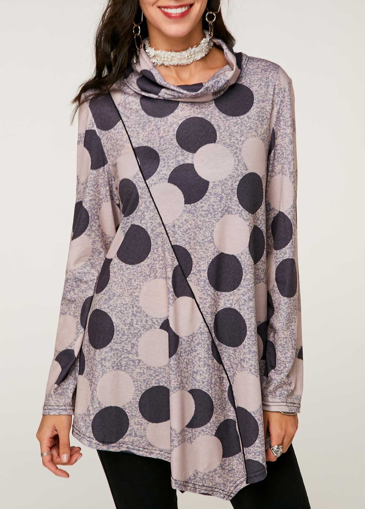 Asymmetric Hem Printed Cowl Neck Tunic Top