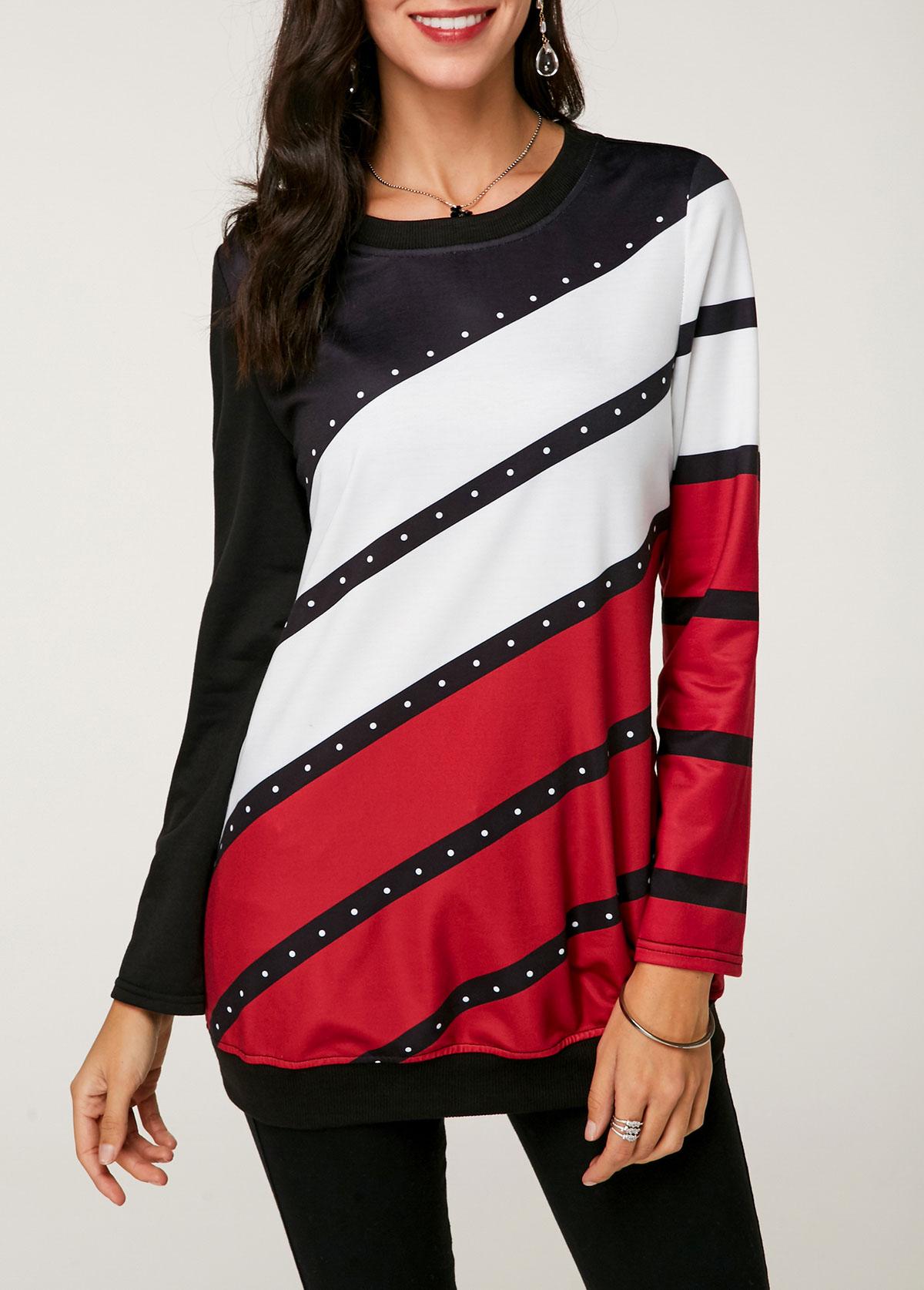 Round Neck Long Sleeve Color Block Sweatshirt