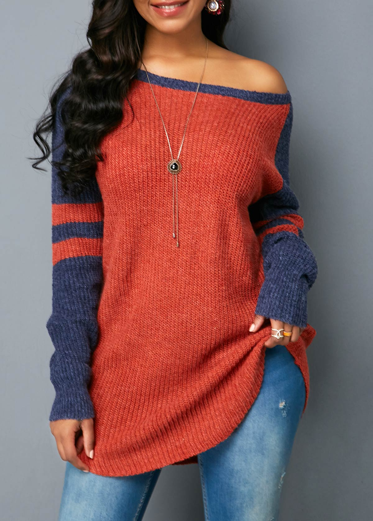 Scoop Neck Long Sleeve Striped Sweater