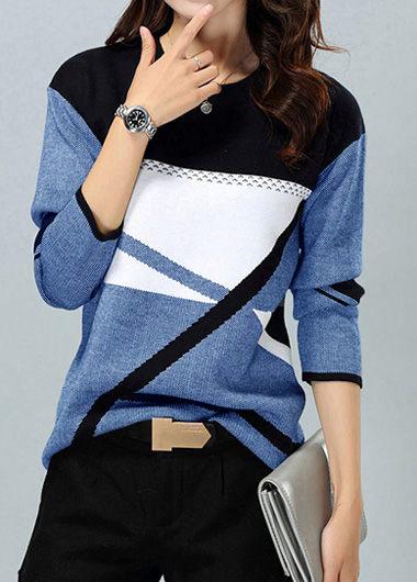 Geometric Pattern Long Sleeve Round Neck Blue Sweater