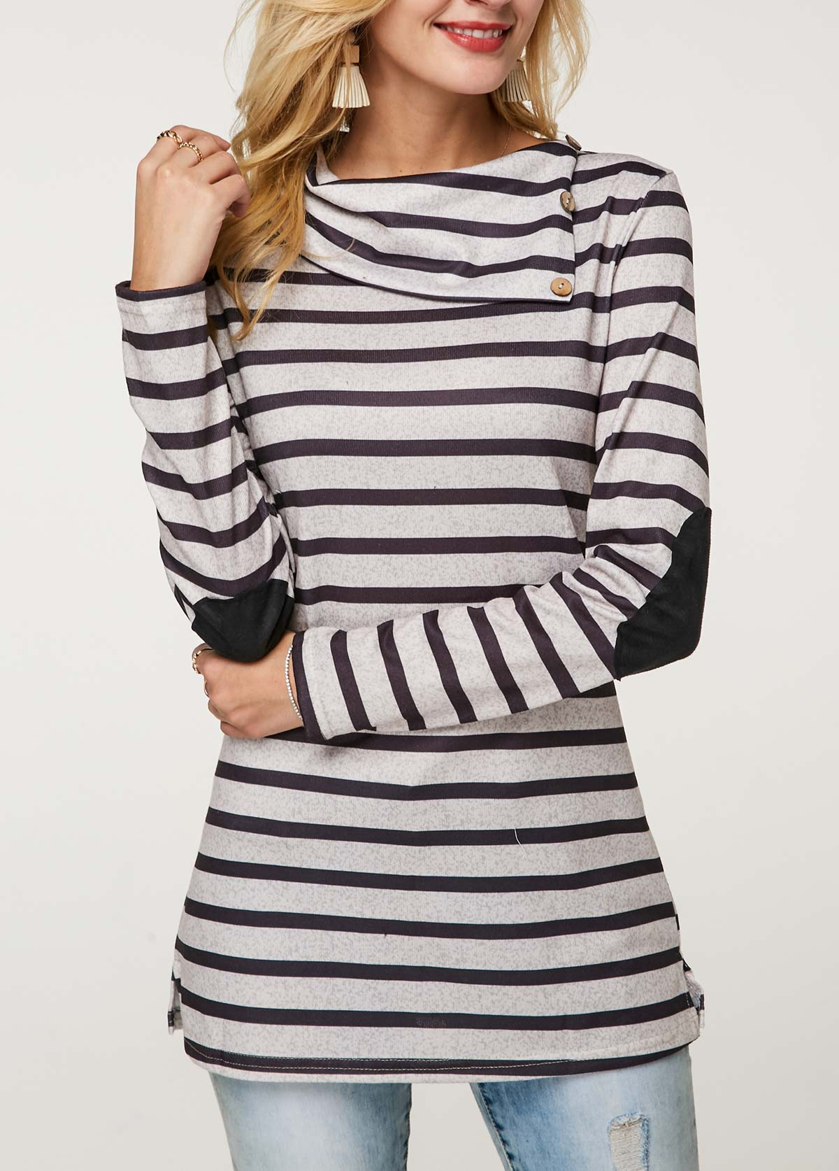 Striped Elbow Patch Long Sleeve T Shirt