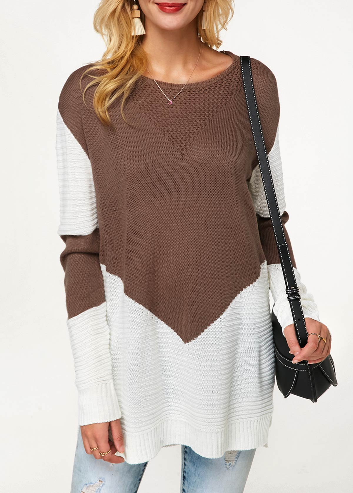 Color Block Side Slit Long Sleeve Sweater