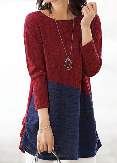 Round Neck Color Block Long Sleeve Blouse