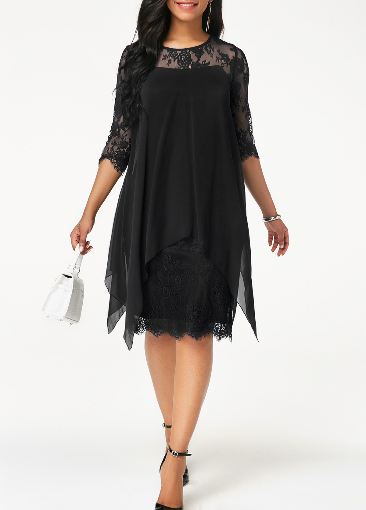 Chiffon Overlay Three Quarter Sleeve Black Lace Dress