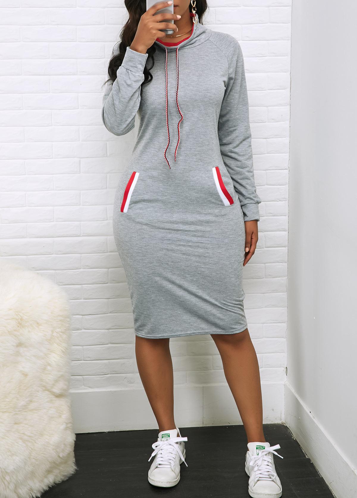 Pocket Drawstring Neck Long Sleeve Dress
