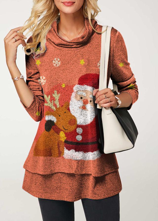 Layered Long Sleeve Cowl Neck Christmas Blouse