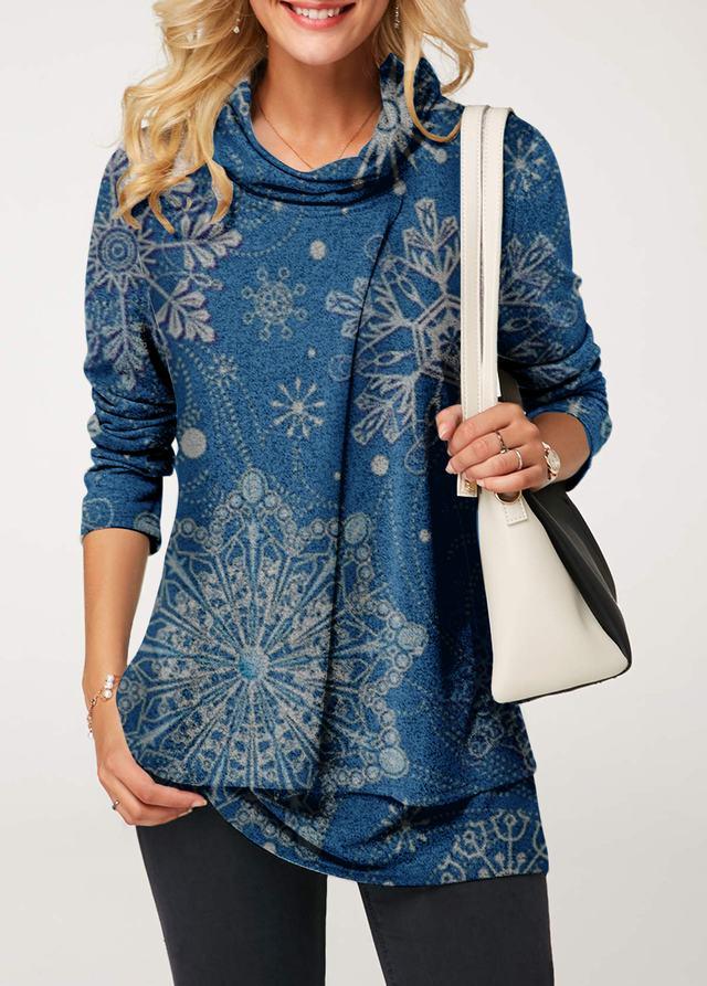 5092811d6b681 Long Sleeve Cowl Neck Layered Christmas Blouse