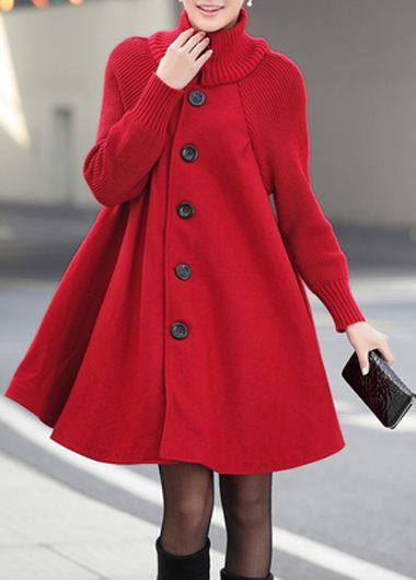 Button Front Long Sleeve Red Coat