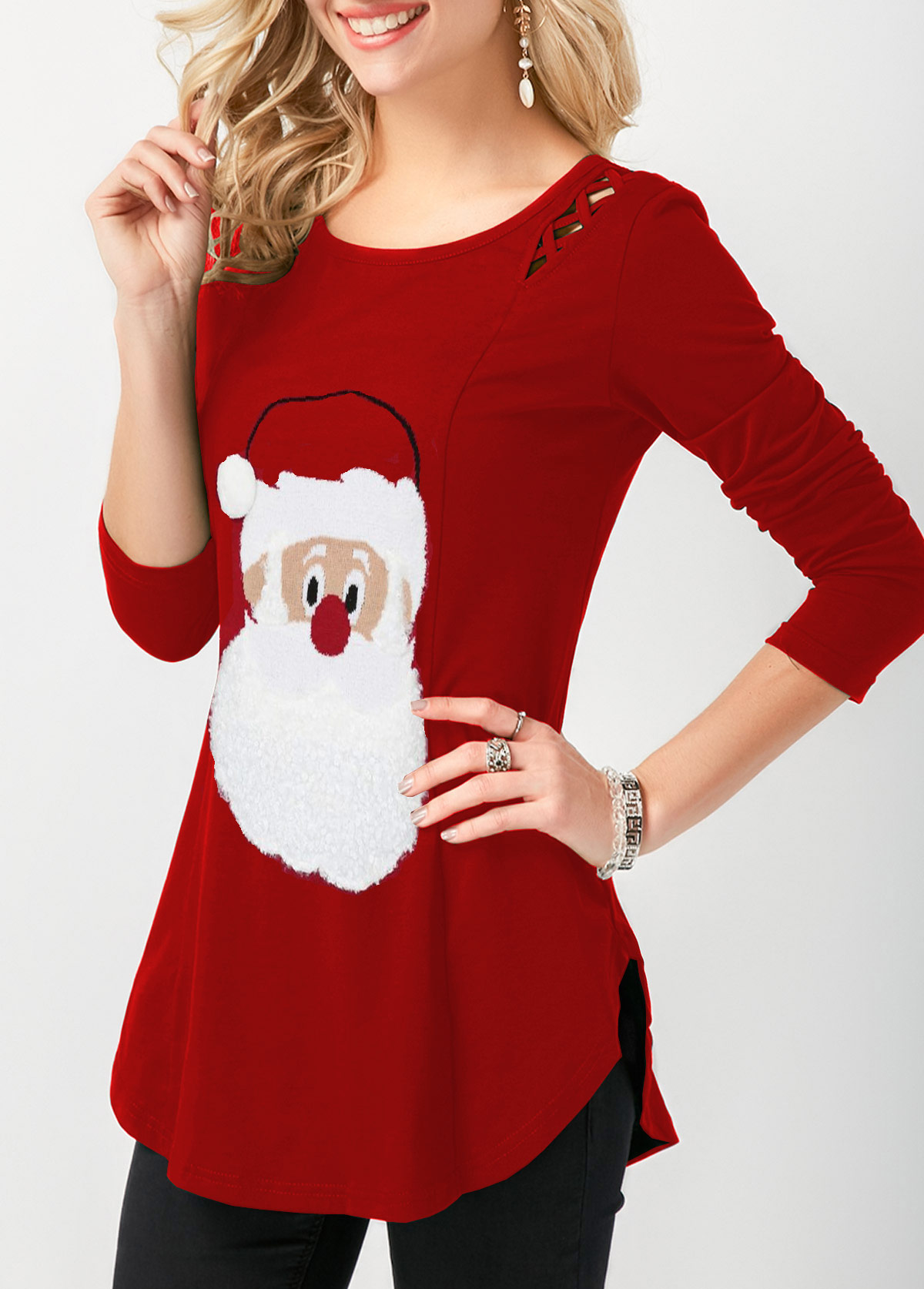 Curved Hem Long Sleeve Christmas T Shirt