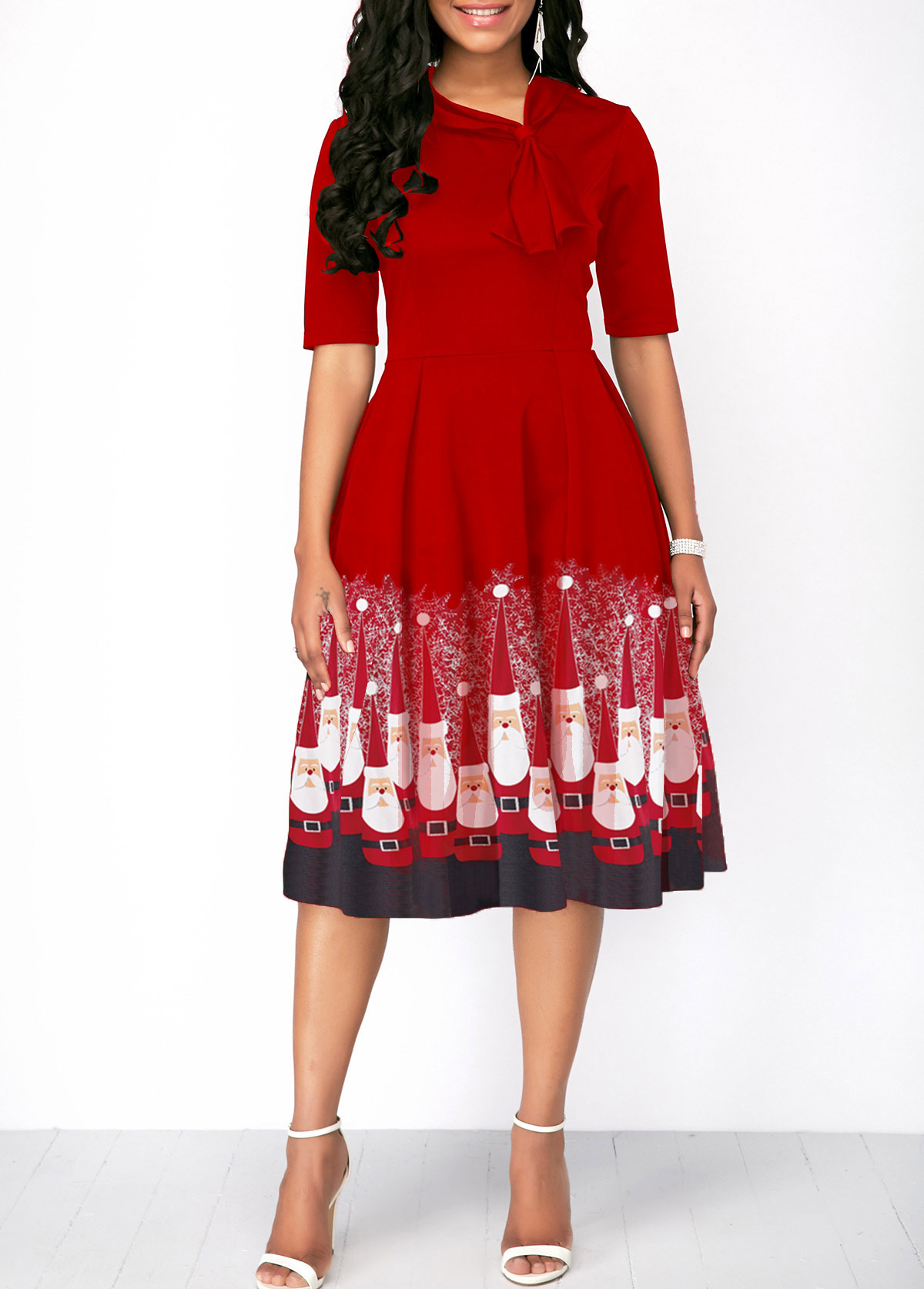 Christmas Santa Print Half Sleeve Red Dress