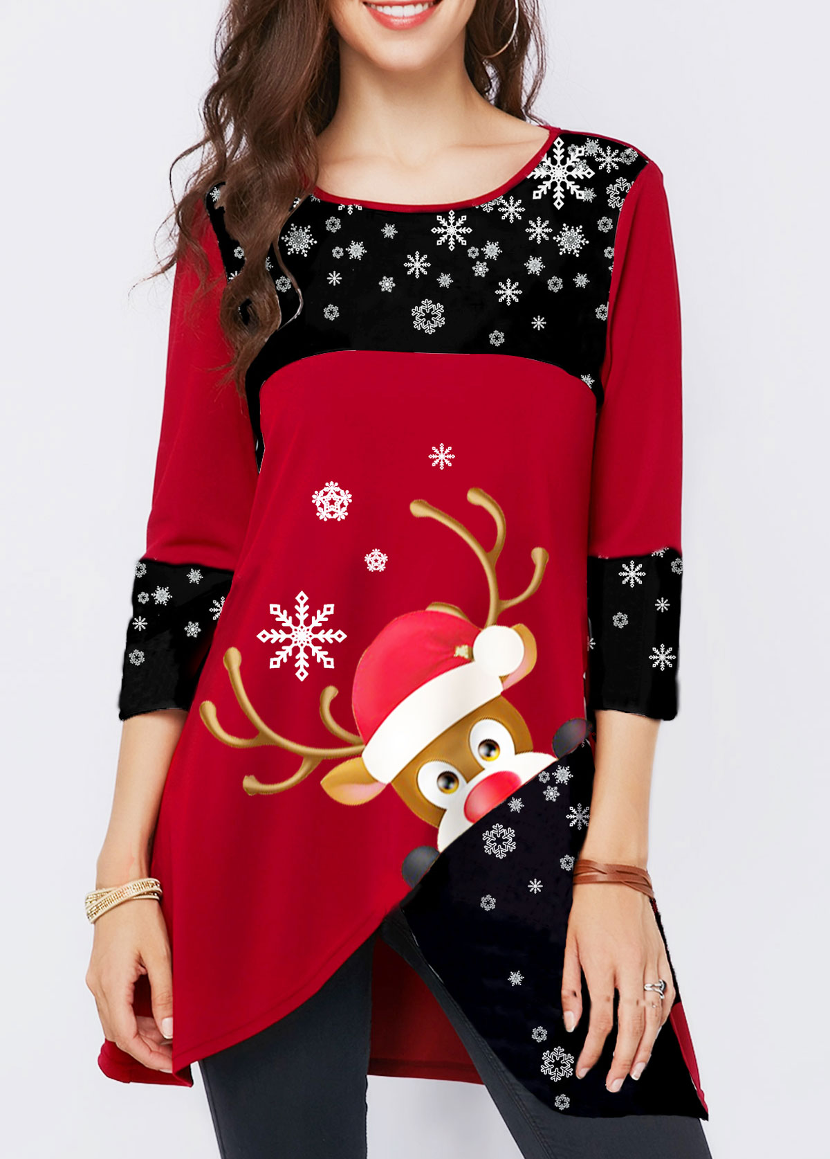 Elk Print Asymmetric Hem Christmas T Shirt