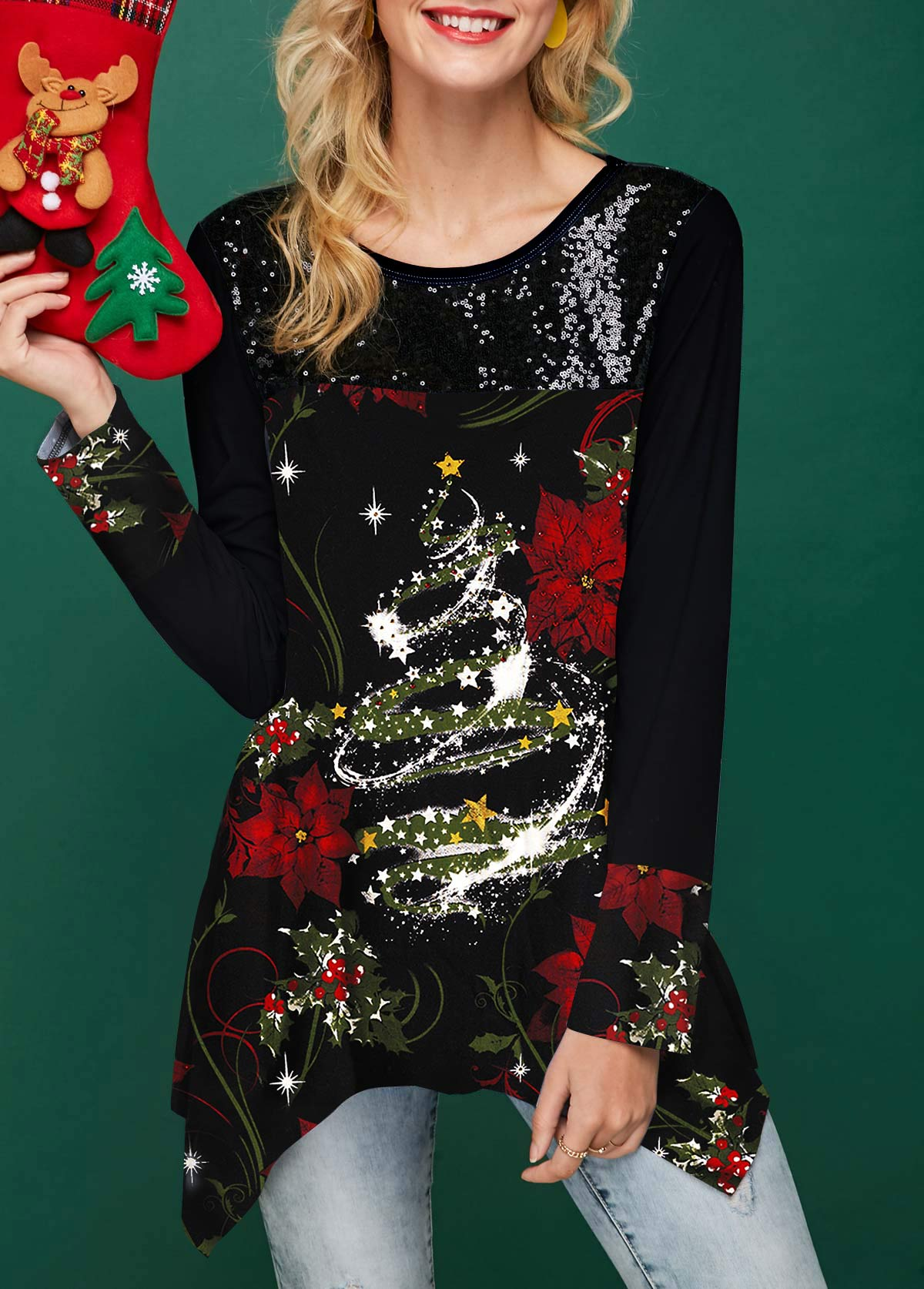 Asymmetric Hem Christmas Print Black T Shirt