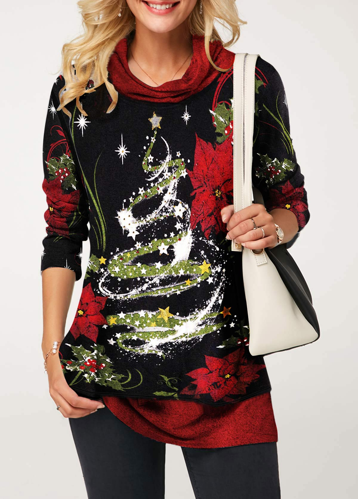 Star Print Cowl Neck Christmas Long Sleeve T Shirt