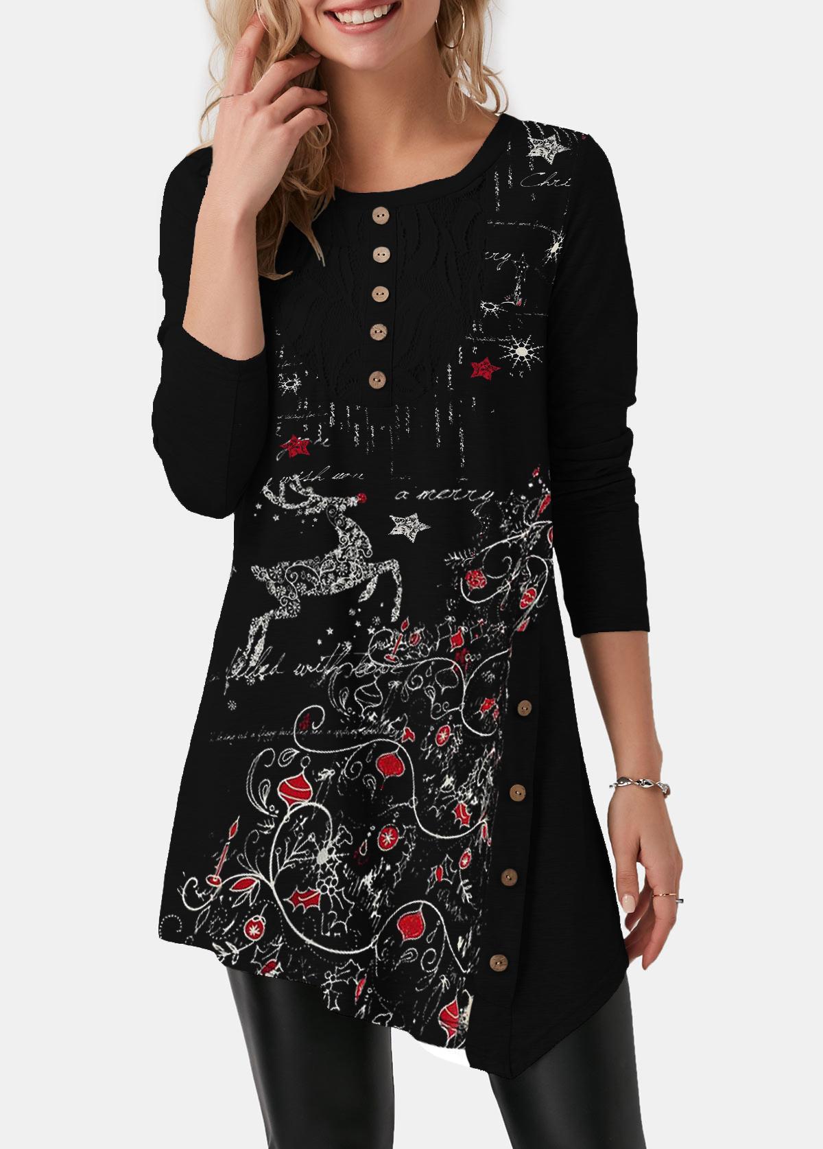 Asymmetric Hem Button Detail Christmas Print T Shirt