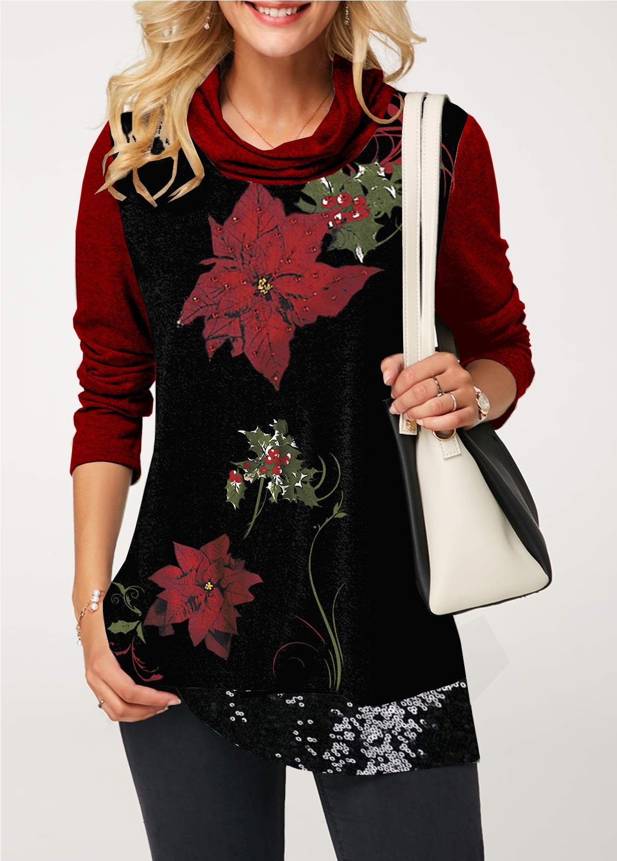Sequin Embellished Flower Print Cowl Neck T Shirt