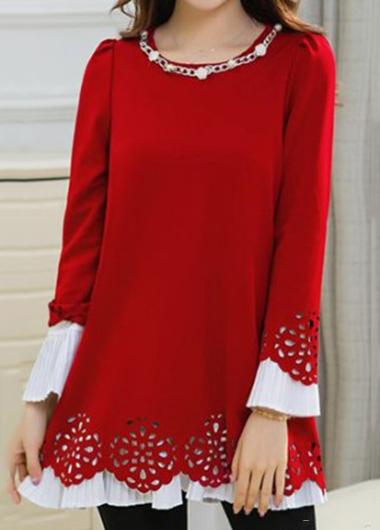Long Sleeve Embellished Neck Red Blouse