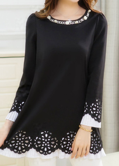 Embellished Neck Long Sleeve Black Blouse