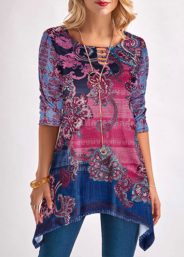 Asymmetric Hem Printed Three Quarter Sleeve Blouse