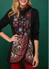 Snowflake-Print-Tulip-Hem-Long-Sleeve-Christmas-Hoodie