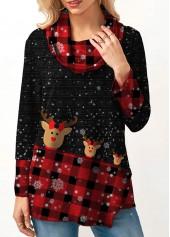 Cowl-Neck-Plaid-Print-Long-Sleeve-Christmas-Sweatshirt