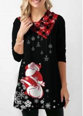 Santa-Print-Long-Sleeve-Button-Embellished-Christmas-Sweatshirt